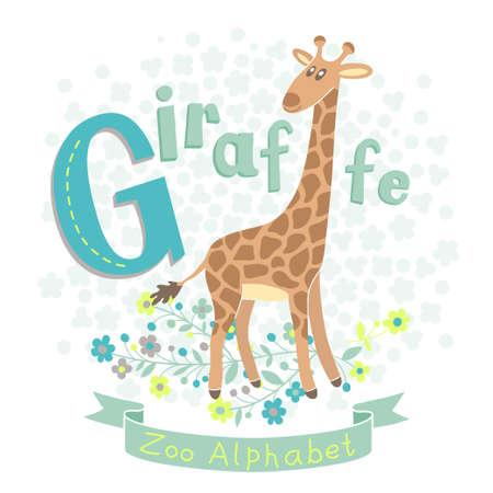 alfabeto con animales: Letra G - Giraffe Alfabeto con animales lindos ilustración vectorial
