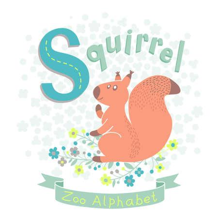 children s book: Letter S - Squirrel. Alphabet with cute animals. Vector illustration.