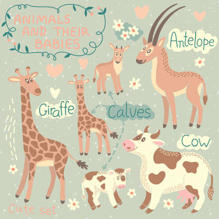 baby goat: Baby and Mommy Animal Set - for design and scrapbook  Vector illustration