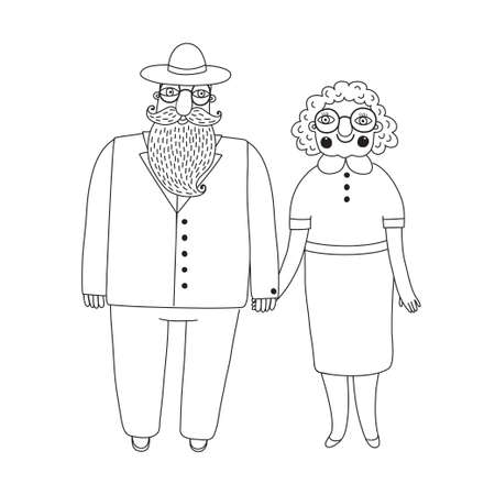 older woman smiling: Elderly couple. Grandparents. Grandma and Grandpa. Vector illustration.