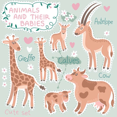 kid goat: Baby and Mommy Animal Set on paper tags - for design and scrapbook. Vector illustration. Illustration