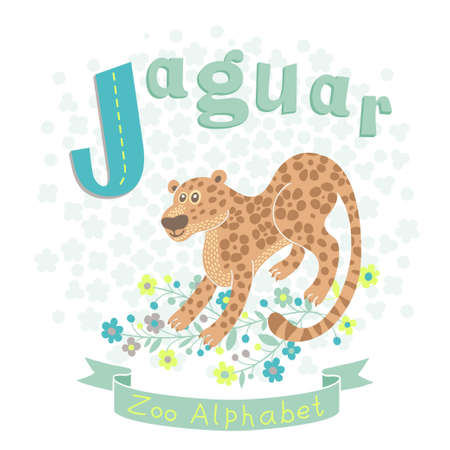 vocabulary: Letter J - Jaguar. Alphabet with cute animals. Vector illustration. Illustration