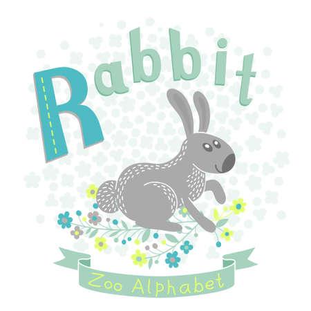 alfabeto con animales: Letra R - Conejo. Alfabeto con los animales lindos. Ilustración del vector.
