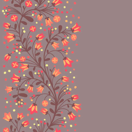 Seamless border of flowering branches. Vector illustration. Vector