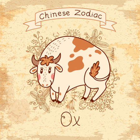 Vintage card with Chinese Zodiac - Ox. Vector illustration.  Vector