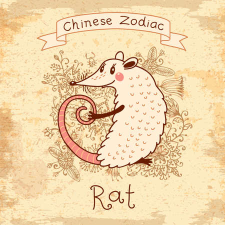 Vintage card with Chinese Zodiac - Rat. Vector illustration.  Vector