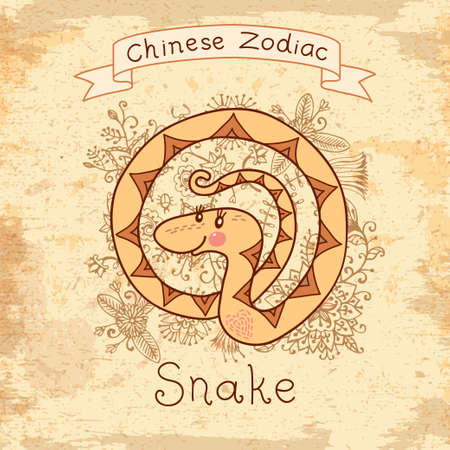 ophidian: Vintage card with Chinese zodiac - Snake. Vector illustration.  Illustration