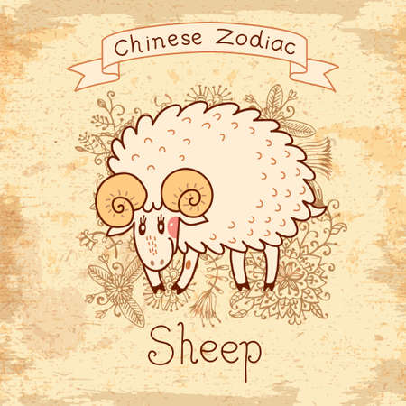mutton: Vintage card with Chinese zodiac - Sheep. Vector illustration.