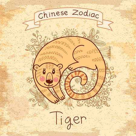 Vintage card with Chinese zodiac - Tiger. Vector illustration.