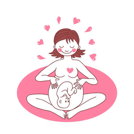 pregnancy exercise: Illustration of a happy pregnant woman. Vector illustration. Illustration