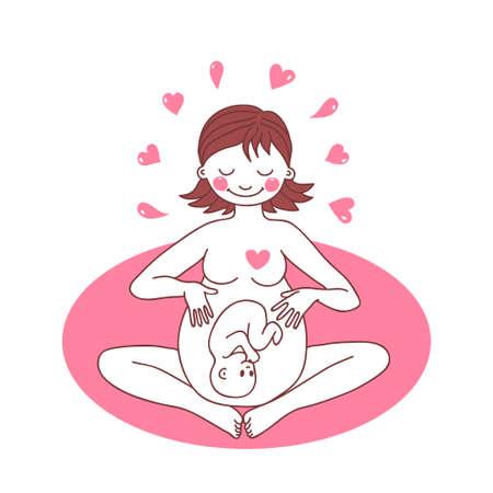 Illustrazione di una donna incinta felice. Illustrazione vettoriale. Archivio Fotografico - 26011509