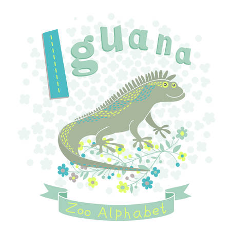 Letter I - Iguana. Alphabet with cute animals. Vector illustration. Vector