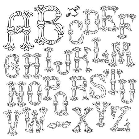 Whimsical Hand Drawn Alphabet Letters Illustration. Vector