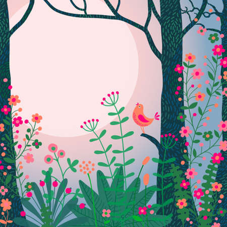 Beautiful forest scene with bird Vector