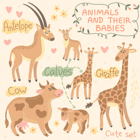 Baby and Mommy Animal Set illustration. Vector