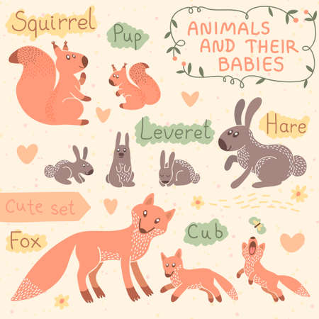 cud: Baby and Mommy Animal Set illustration.