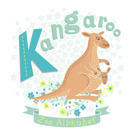 Letter K - Kangaroo. Alphabet with cute animals. Vector illustration. Vector