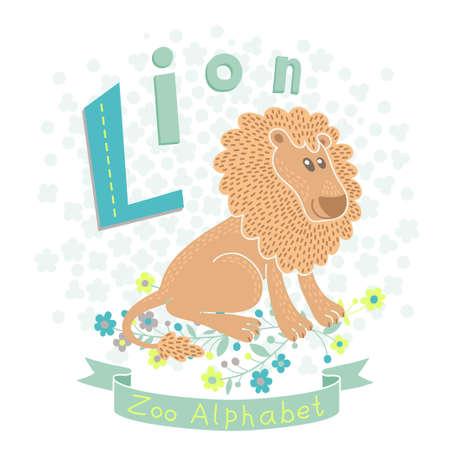 l background: Letter L - Lion. Alphabet with cute animals. Vector illustration. Illustration