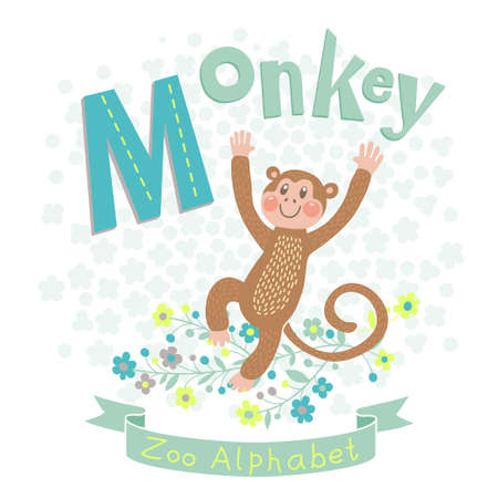 Letter M - Monkey. Alphabet with cute animals. Vector illustration. Vector