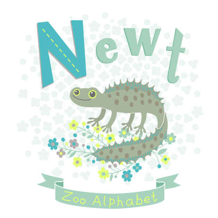 newt: Letter N - Newt. Alphabet with cute animals. Vector illustration.