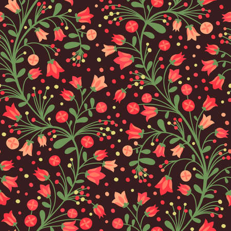 Seamless pattern of flowering branches. Vector illustration. Vector