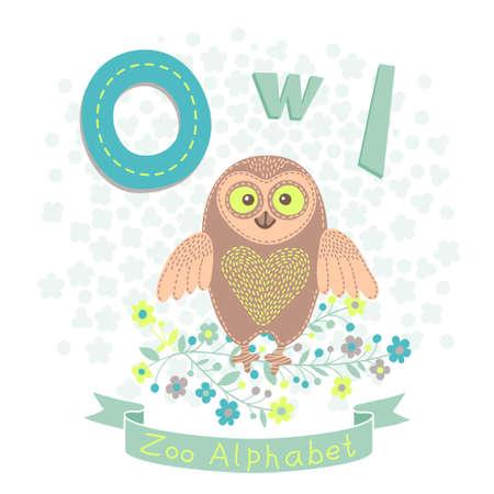 alfabeto con animales: Letra O - Owl. Alfabeto con los animales lindos. Ilustración del vector.
