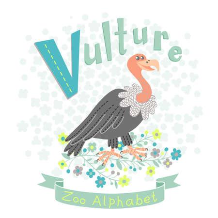 alfabeto con animales: Carta V - Buitre. Alfabeto con los animales lindos. Ilustración del vector. Vectores