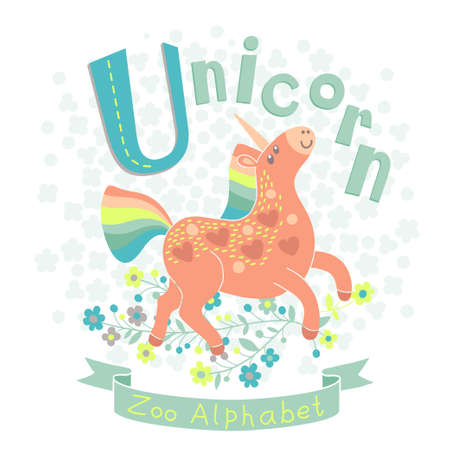 Letter U - Unicorn. Alphabet with cute animals. Vector illustration. Vector