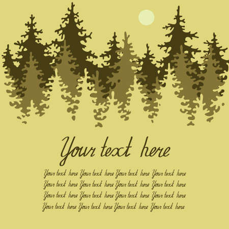 Illustration of coniferous forest with a place for your text. Vector Illustration. Vectores