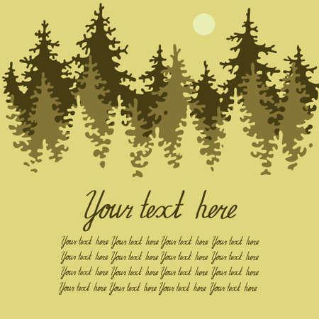 Ilustración de los bosques de coníferas con un lugar para su texto. Ilustración vectorial.