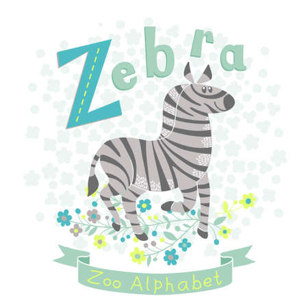 Letter Z - Zebra. Alphabet with cute animals. Vector illustration. Vector