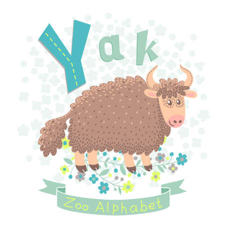 Letter Y - Yak. Alphabet with cute animals. Vector illustration. Vector