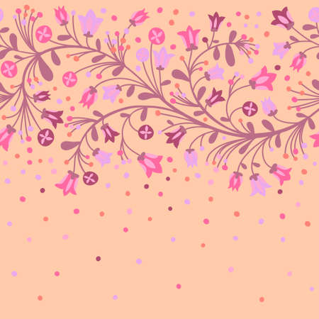 Seamless border of flowering branches  Vector illustration  Vector