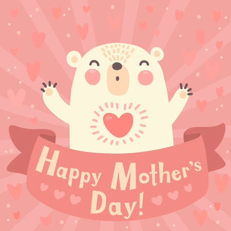 Greeting card for mom with cute bear  Vector illustration