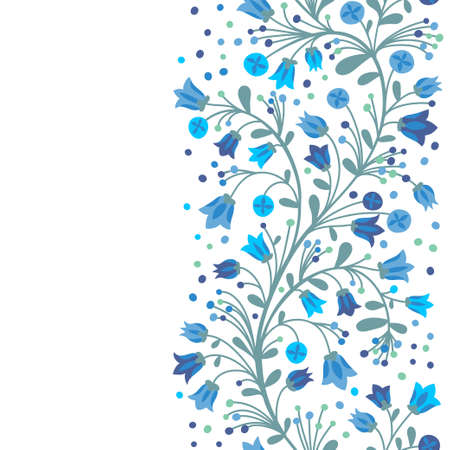 bluebells: Seamless border of flowering branches. Vector illustration.