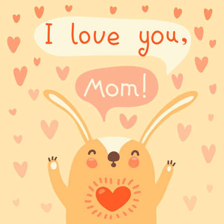Greeting card for mom with cute rabbt  Vector illustration  Vector