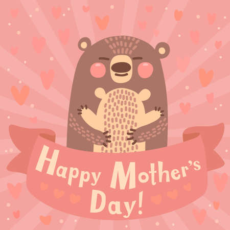 Greeting card for mom with cute bear. Vector illustration. Vectores