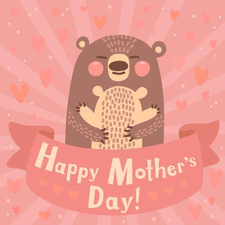 Wenskaart voor moeder met schattige beer. Vector illustratie.