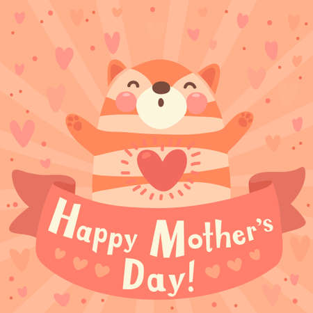 Greeting card for mom with cute kitten  Vector illustration