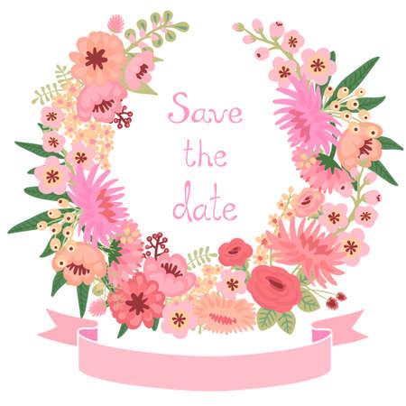 花の花輪とビンテージのカード。日付を保存します。結婚式の招待状。ベクトル イラスト。