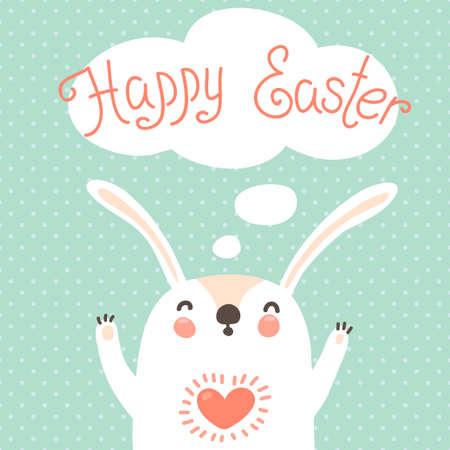 귀여운 토끼 벡터 일러스트와 함께 행복 한 부활절 카드