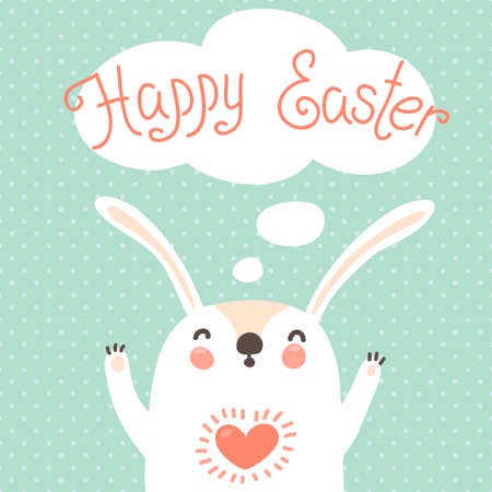 Happy Easter card with cute bunny  Vector illustration