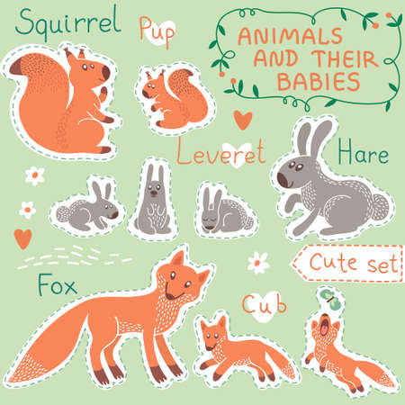 Baby and Mommy Animal Set on paper tags - for design and scrapbook  Vector illustration  Vector