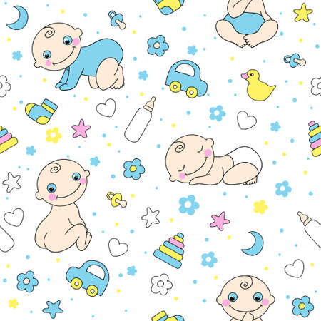 Seamless pattern for baby boys  Vector illustration Vector