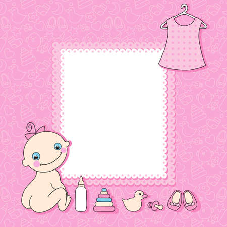 it girl: Sweet baby girl announcement card style cartoon  Vector illustration