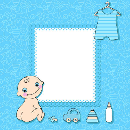 Sweet baby boy announcement card style cartoon.  Vector