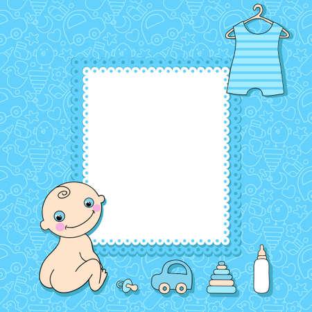Sweet baby boy announcement card style cartoon.  Vector