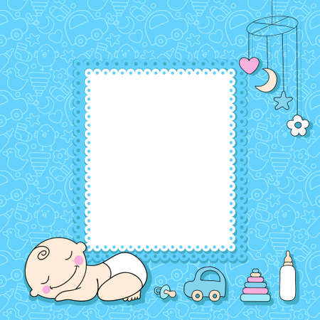 Sweet baby boy announcement card style cartoon. Vector illustration