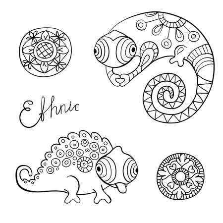 Chameleons and flowers in black color and ethnic style.  Illustration