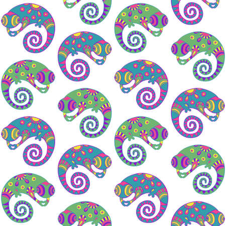 africa chameleon: Seamless pattern with decorative ethnic style chameleon  Vector Illustration  Illustration